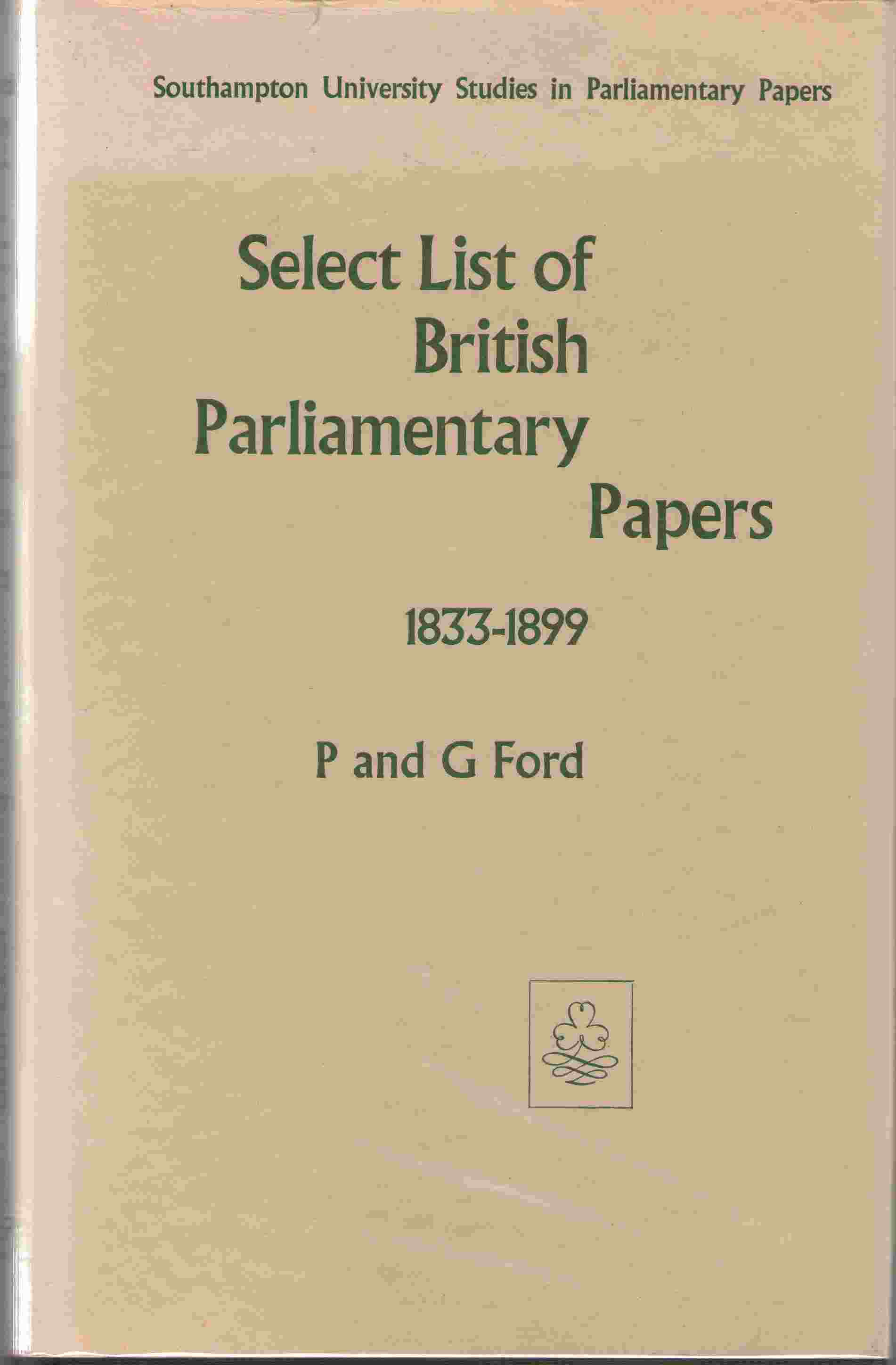 Select List of British Parliamentary Papers, 1833-99
