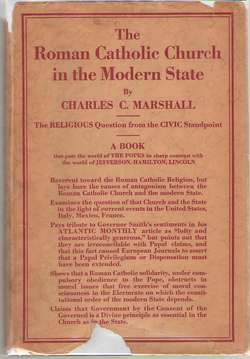 The Roman Catholic Church In The Modern State, Marshall, Charles C.