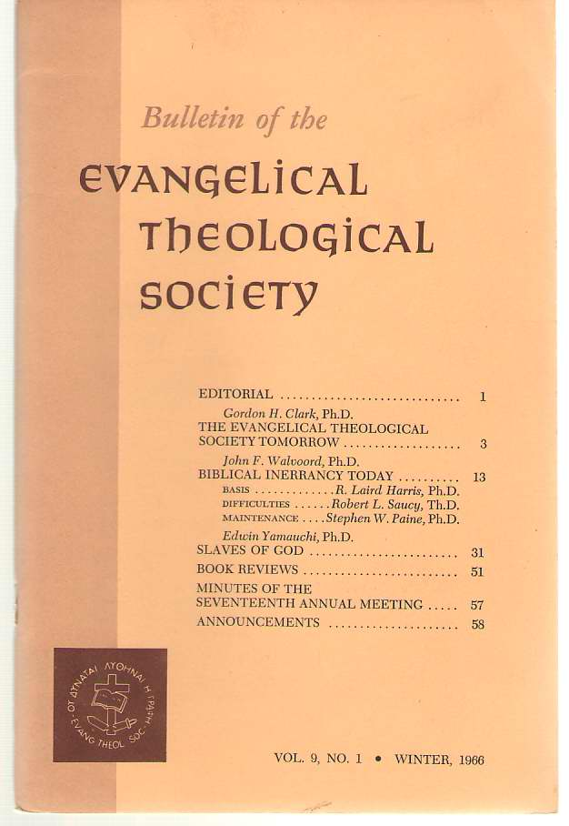 Bulletin Of The Evangelical Theological Society Volume 9, Number 1, Winter 1966, Schultz, Samuel ( editor )