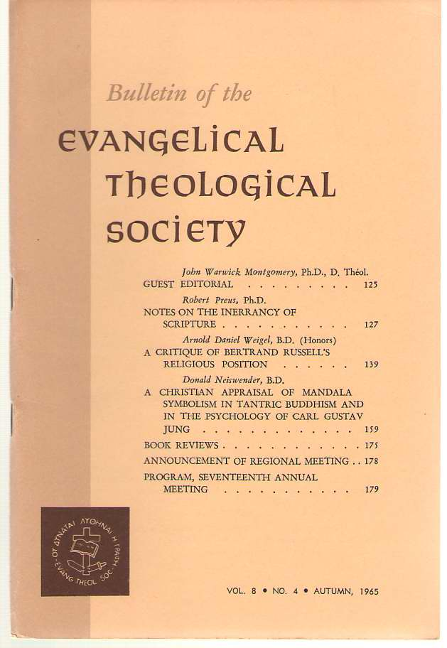 Bulletin Of The Evangelical Theological Society Volume 8, Number 4, Autumn 1965, Schultz, Samuel ( editor )