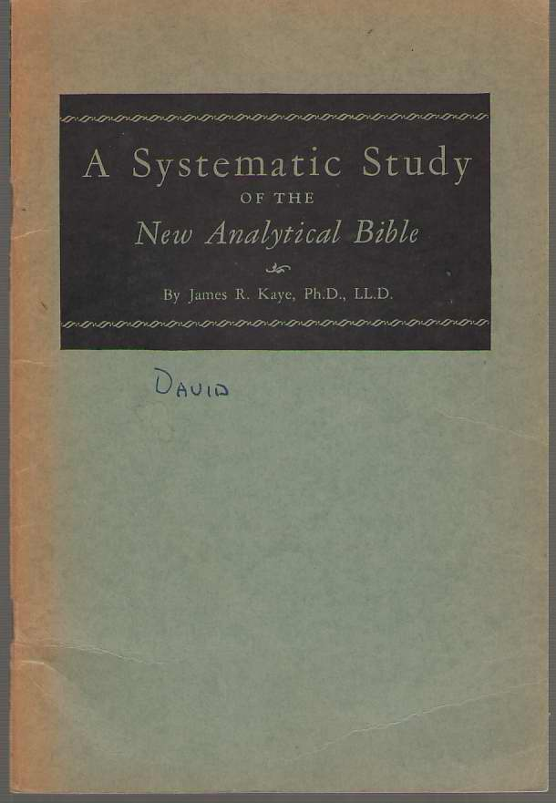 Image for A Systematic Study of the New Analytical Bible